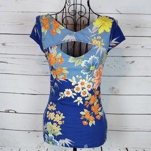 Guess Floral Cap Sleeve Top w/Cutout Detail
